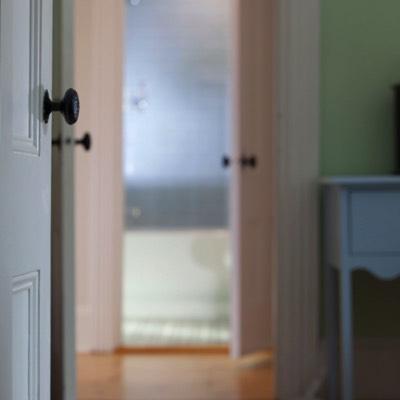 Doorways into bathroom