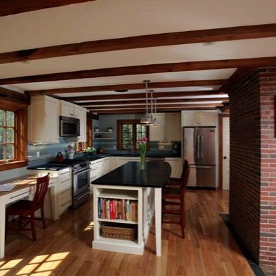 Kitchen with brick chimney