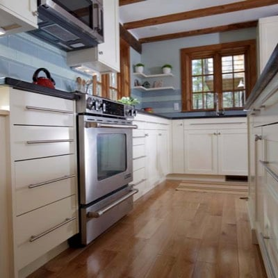 Low-angle kitchen stove cabinet